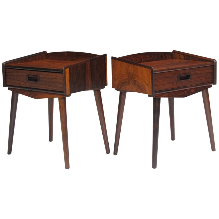Danish Rosewood Nightstand Side Tables with Drawers For Sale