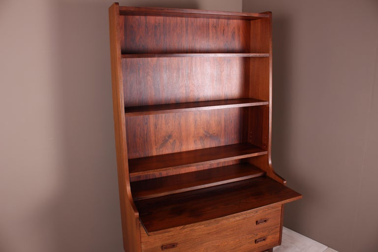 Danish Rosewood Secretaire Bookshelf by Johannes Sorth, 1960s In Good Condition For Sale In Heathfield, East Sussex
