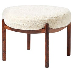 Danish Rosewood Sheepskin Covered Ottoman, circa 1950s