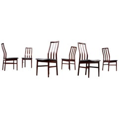Danish Rosewood Slat High Back Dining Chairs with New Black Vinyl Seats