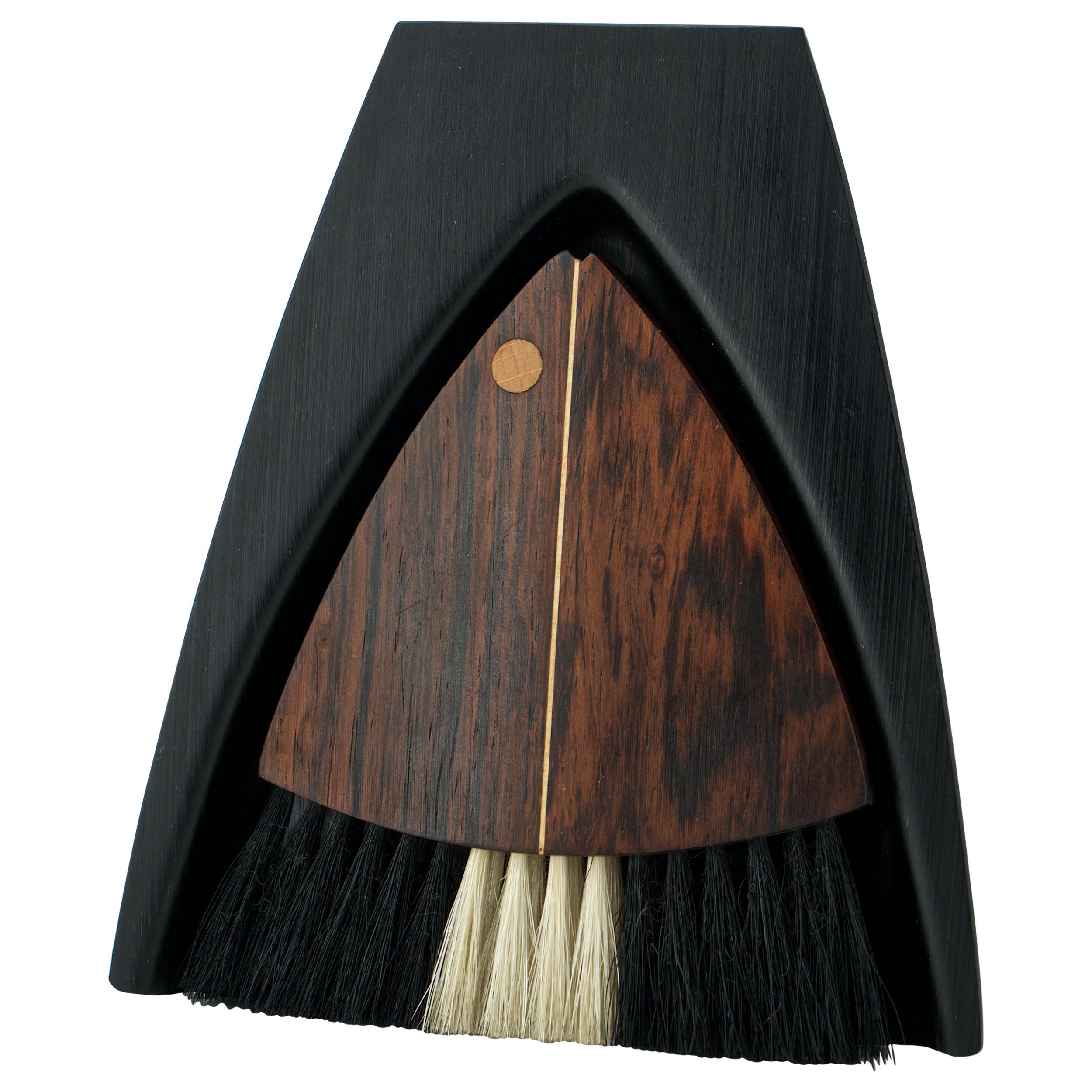 Danish Rosewood Table Crumb Brush Dust Pan Tray Bold Graphic Midcentury Design