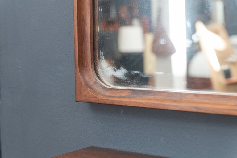 Danish Rosewood Wall Mirror and Matching Shelf In Good Condition For Sale In San Francisco, CA