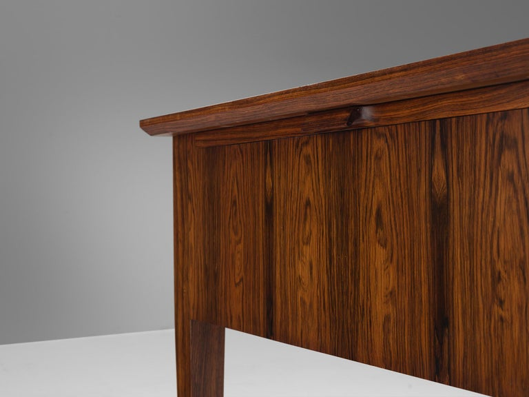 Danish Rosewood Writing Desk with Brass Details For Sale 5