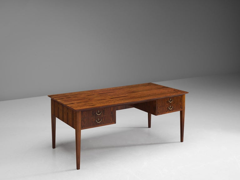 Desk, brass and rosewood, Denmark, 1950s.