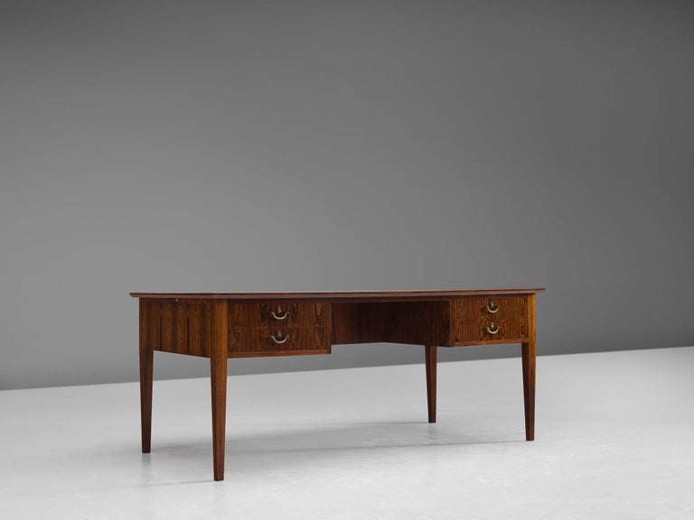Scandinavian Modern Danish Rosewood Writing Desk with Brass Details For Sale