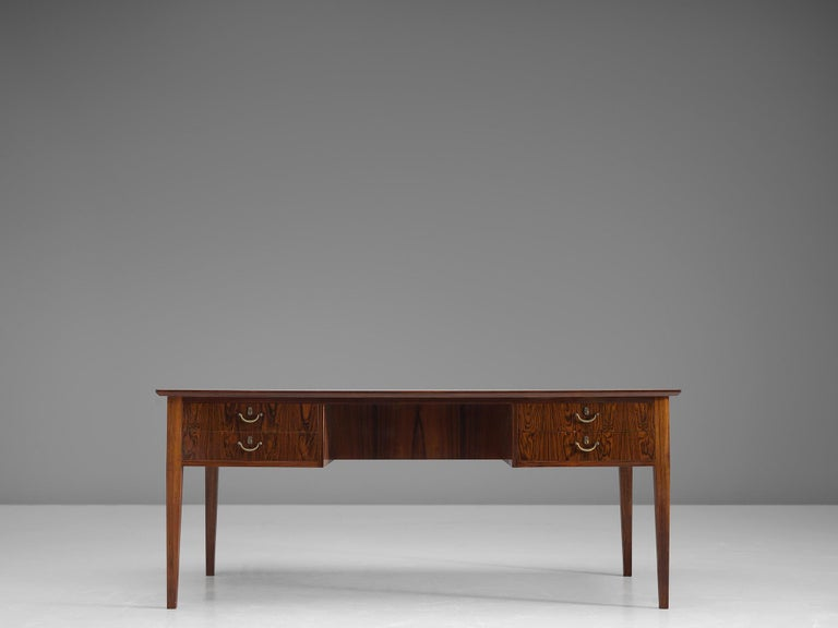 Mid-20th Century Danish Rosewood Writing Desk with Brass Details For Sale