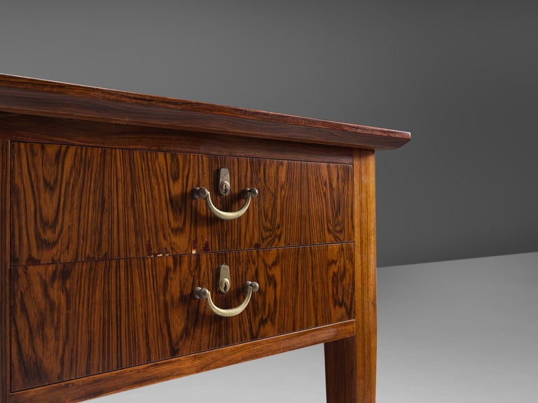 Danish Rosewood Writing Desk with Brass Details For Sale 1