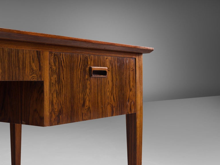 Danish Rosewood Writing Desk with Brass Details For Sale 2