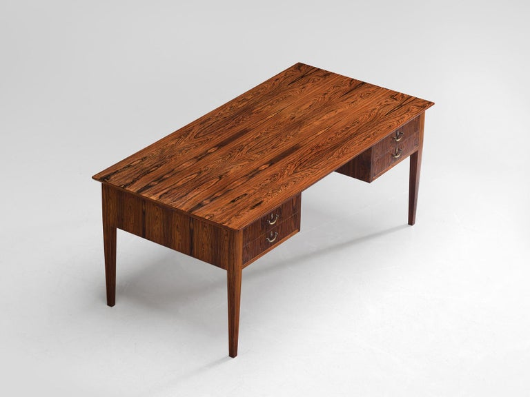 Danish Rosewood Writing Desk with Brass Details For Sale 3