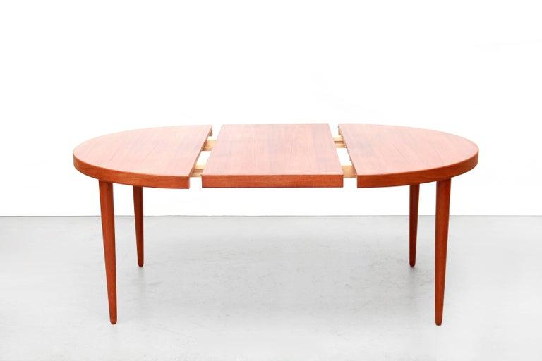 Danish Round Oval Extendable Dining Room Table By Kai Kristiansen - Teak oval extending table