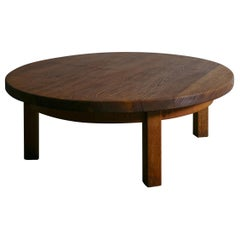 Danish Round Coffee Table in Solid Oak, 1960s