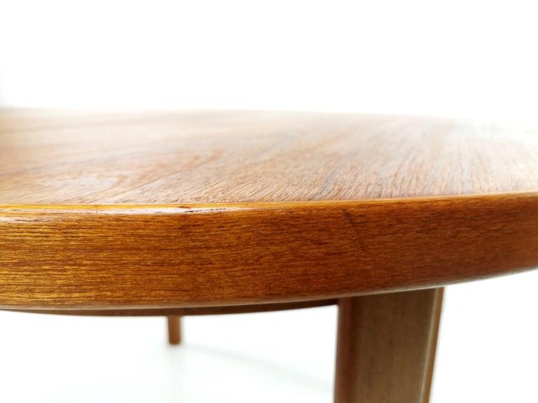 Danish Round Teak Dining Table 1960s Midcentury Vintage For Sale 1