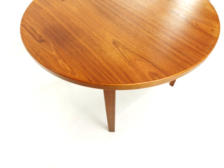 Danish Round Teak Dining Table 1960s Midcentury Vintage For Sale 2
