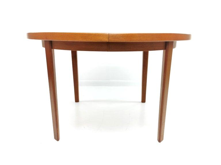 Danish Round Teak Dining Table 1960s Midcentury Vintage For Sale 3