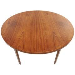 Danish Round Teak Dining Table 1960s Midcentury Vintage
