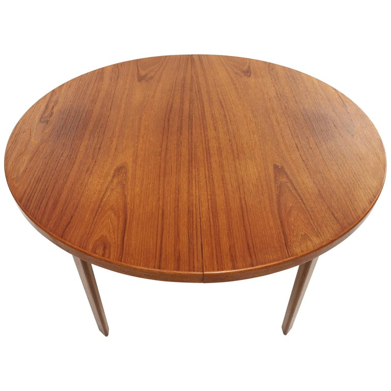 Danish Round Teak Dining Table 1960s Midcentury Vintage For Sale