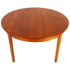 Danish Round Teak Extendable Dining Table, 1960s