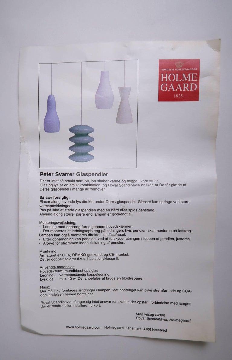 Royal Scandinavia Danish Holmegaard Opaline White Tiered Glass Pendant, 2003 For Sale 1