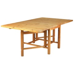 Danish Rustic Extension Dining Table Made From Solid Knotty Pine Planks