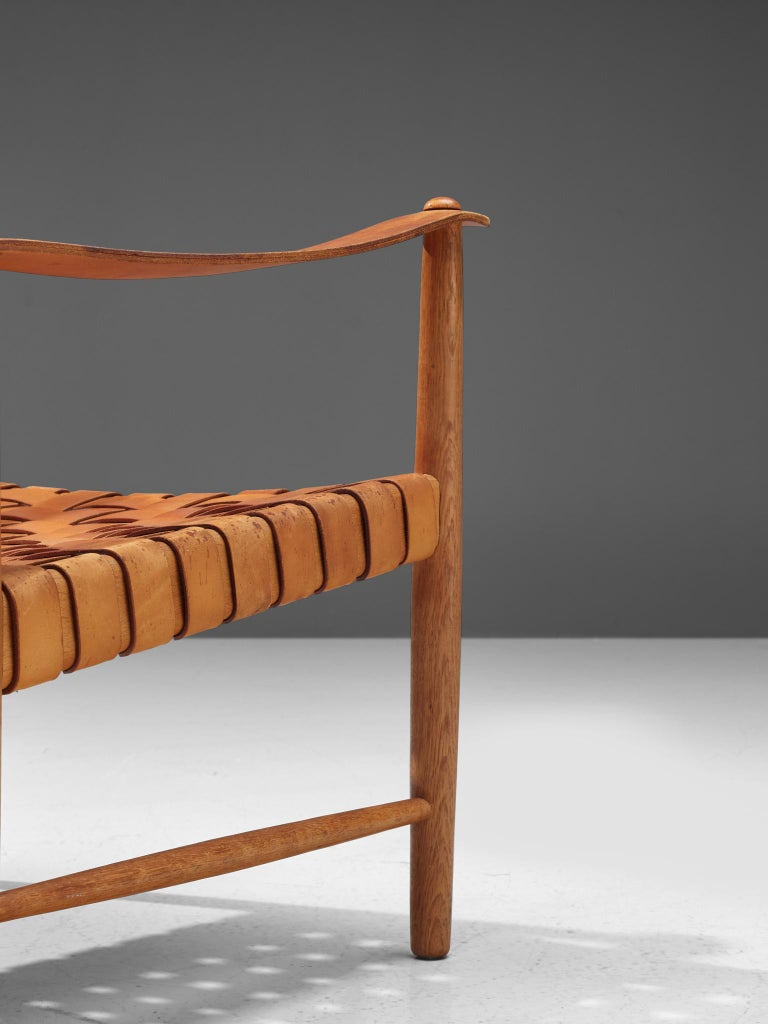 Danish Safari Chair in Cognac Leather 5
