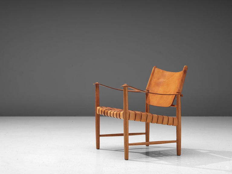Mid-Century Modern Danish Safari Chair in Cognac Leather