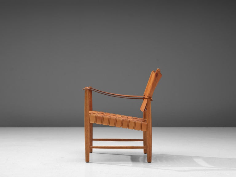 Mid-20th Century Danish Safari Chair in Cognac Leather