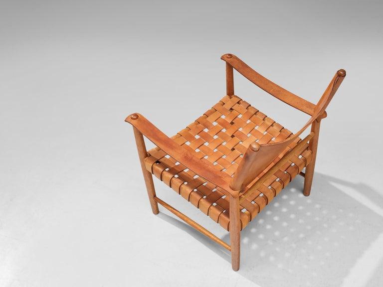 Danish Safari Chair in Cognac Leather 1