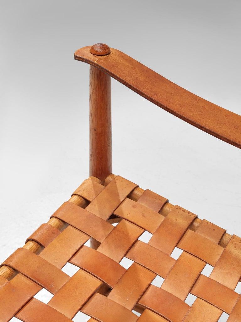 Danish Safari Chair in Cognac Leather 3