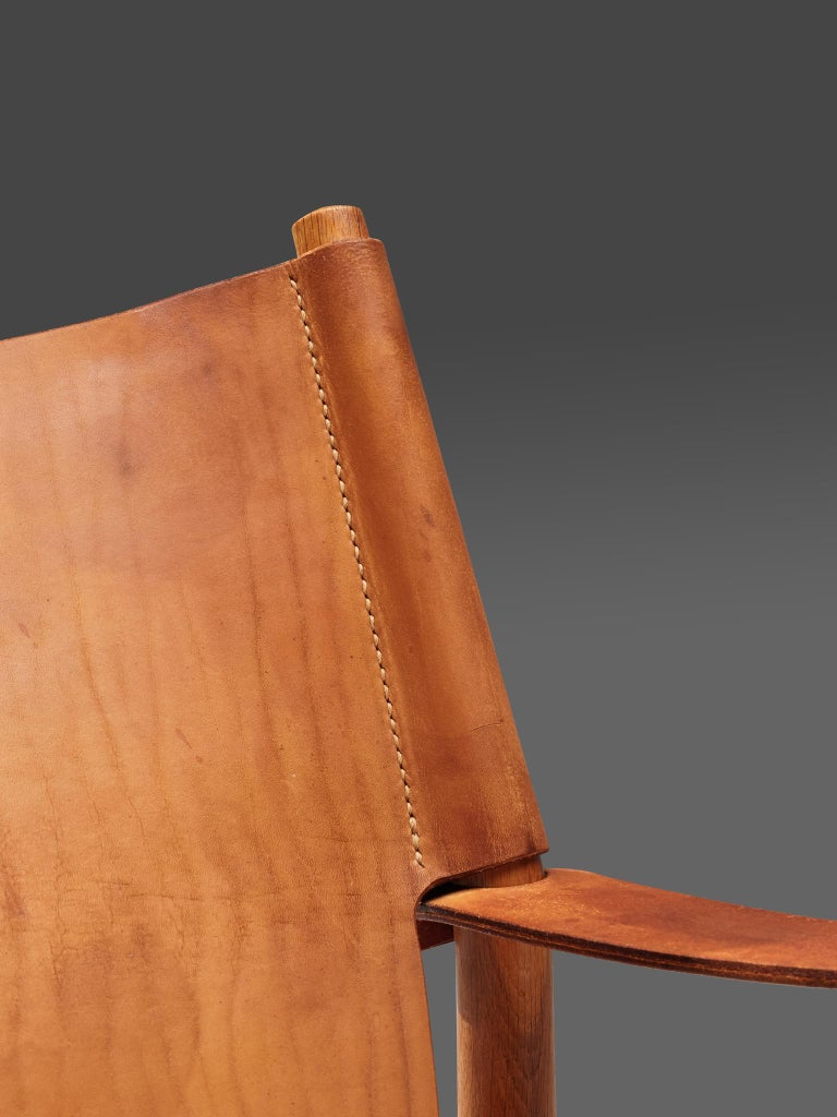 Danish Safari Chair in Cognac Leather 4