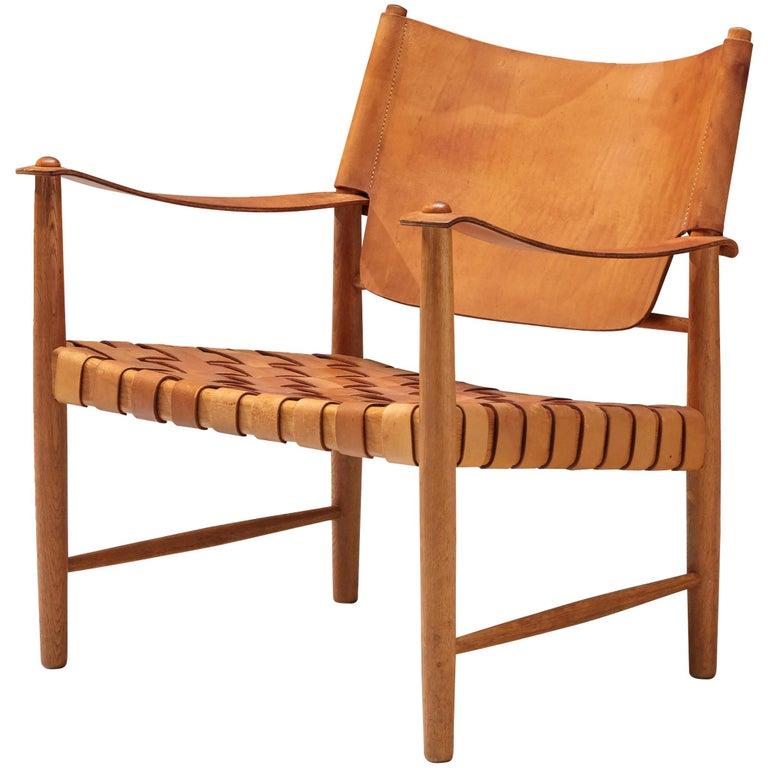 Danish Safari Chair in Cognac Leather