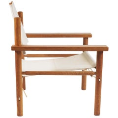 Danish Safari Easy Chair and Table in Oak, Canvas and Rope