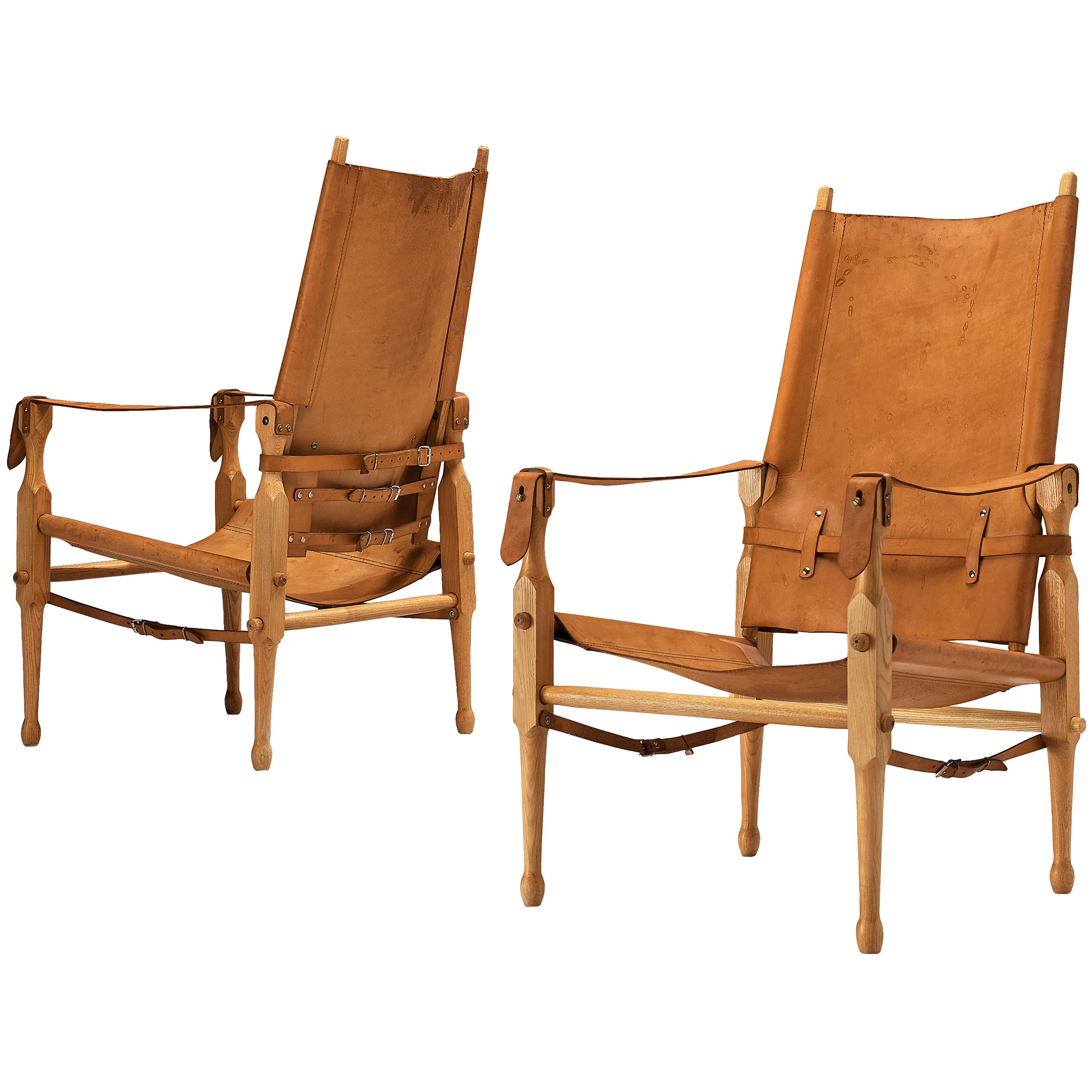 Danish 'Safari' Lounge Chairs in Solid Beech and Cognac Leather