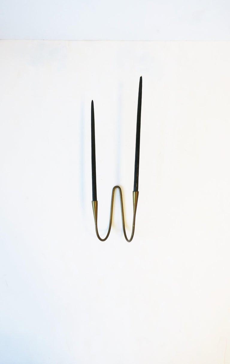 Danish Scandinavian Modern Brass Candle Wall Sconces, Pair 6