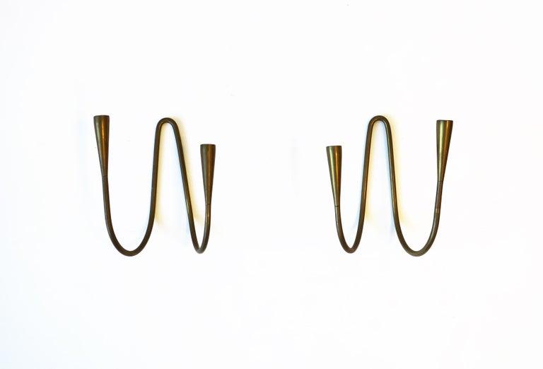 Danish Scandinavian Modern Brass Candle Wall Sconces, Pair 3