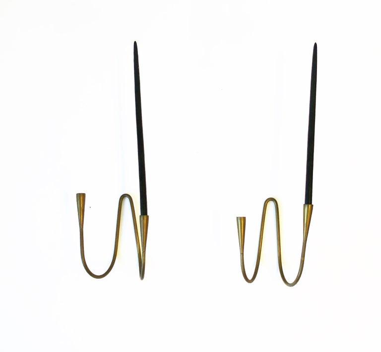 Danish Scandinavian Modern Brass Candle Wall Sconces, Pair 4