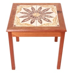 Danish Scandinavian Modern Side Table with Tiled Top