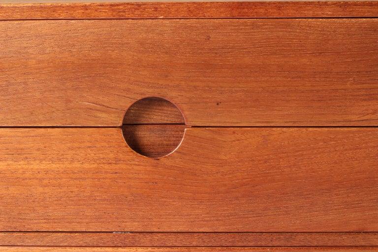 Scandinavian Modern Teak Low Sideboard No 394 by Kai Kristiansen For Sale 13