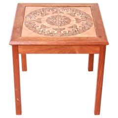 Danish Scandinavian Modern Tiled Top Square Side Table