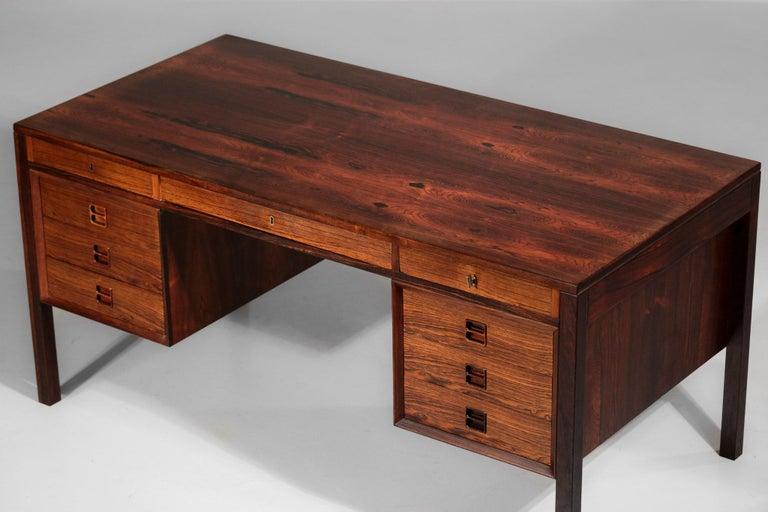 Danish Scandinavian Rosewood Desk by Arne Vodder Vintage Midcentury Design, 1960 1