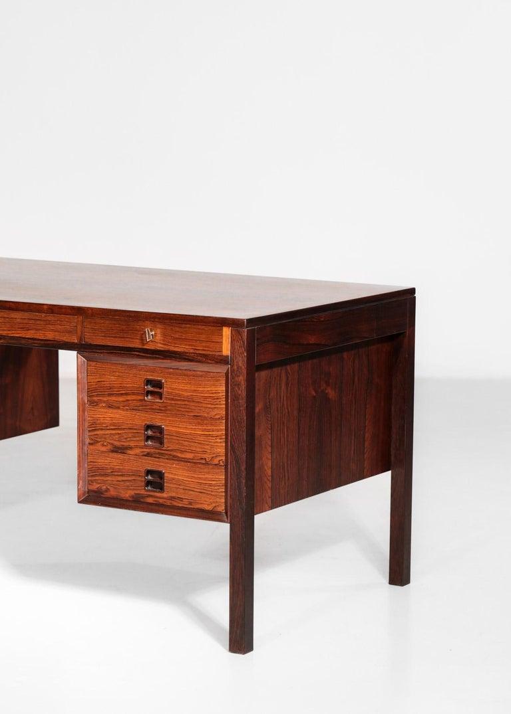 Danish Scandinavian Rosewood Desk by Arne Vodder Vintage Midcentury Design, 1960 4