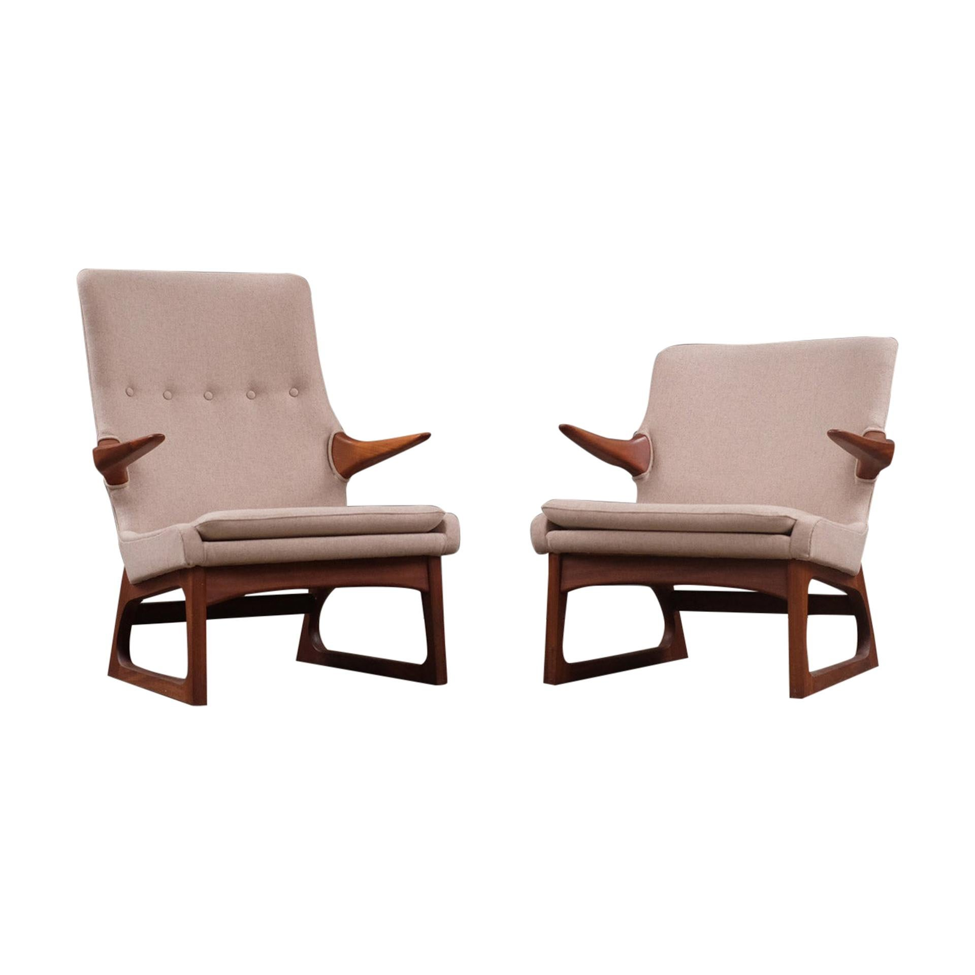 Scandinavian Modern Danish Sculptural Teak Cream Lounge Chairs, Mid 20th Century