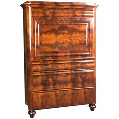 Danish Secretaire a Abattant Figured Mahogany, mid 19th Century