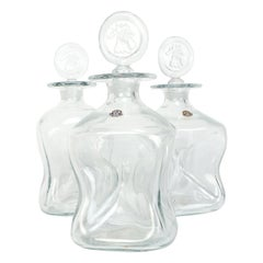 Danish Set of 3 Decanter Kluk Kluk by Jacob Bang for Kastrup, 1950s