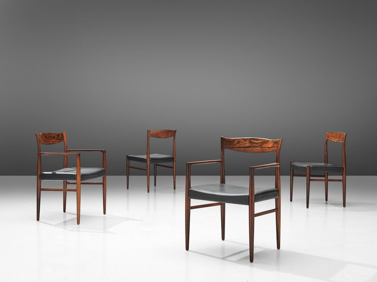 Scandinavian Modern Danish Set of Dining Chairs in Rosewood For Sale