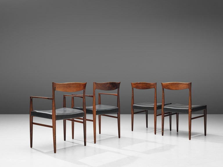 Danish Set of Dining Chairs in Rosewood In Good Condition For Sale In Waalwijk, NL