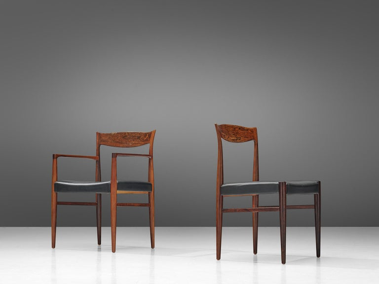 Leather Danish Set of Dining Chairs in Rosewood For Sale