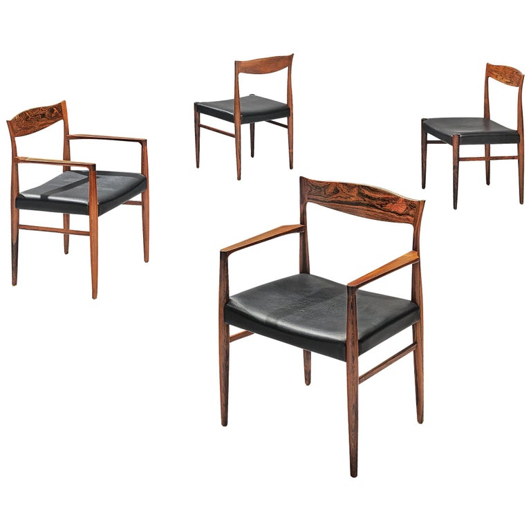 Danish Set of Dining Chairs in Rosewood For Sale