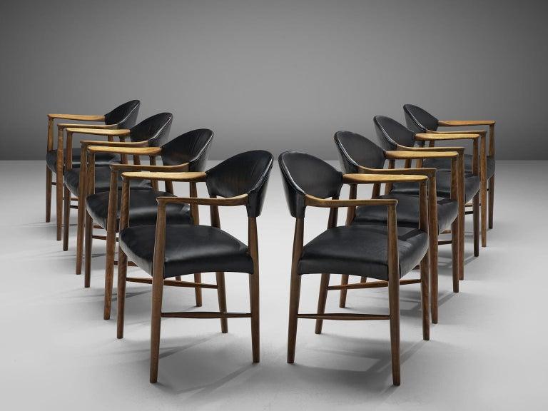 Scandinavian Modern Danish Set of Eight Black Leather Armchairs by Kurt Olsen For Sale