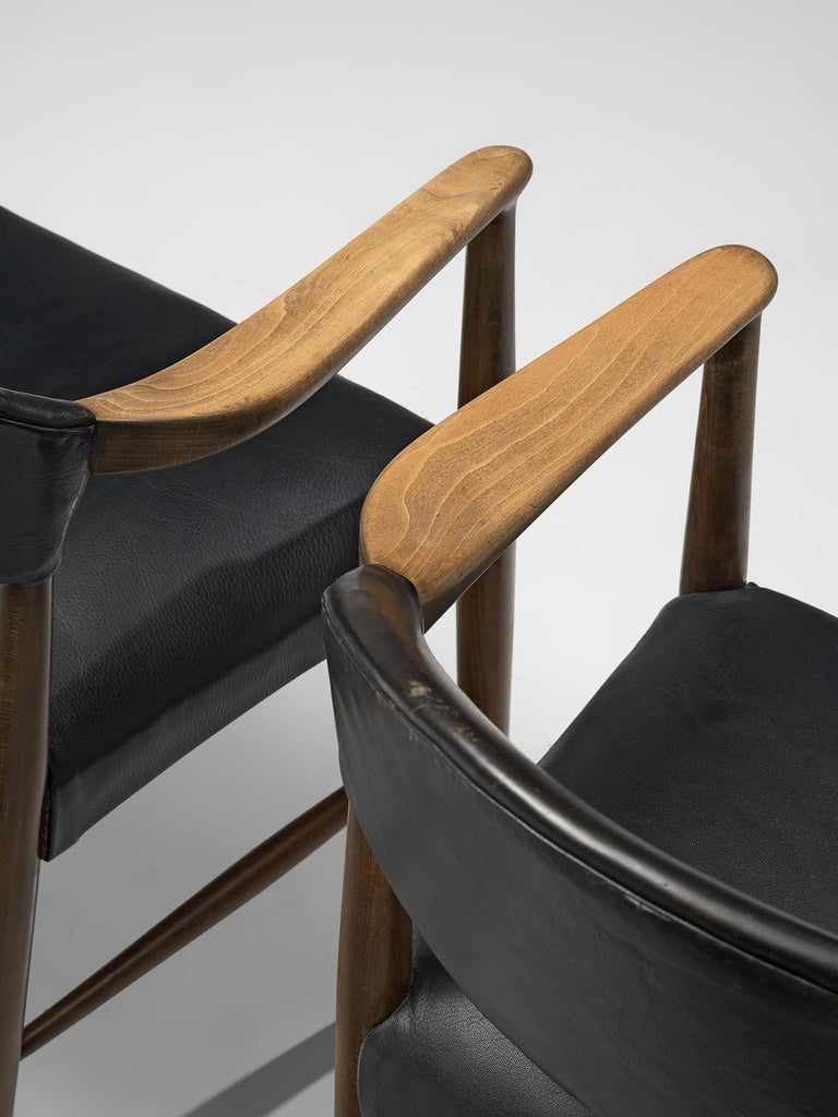 Danish Set of Eight Black Leather Armchairs by Kurt Olsen For Sale 1