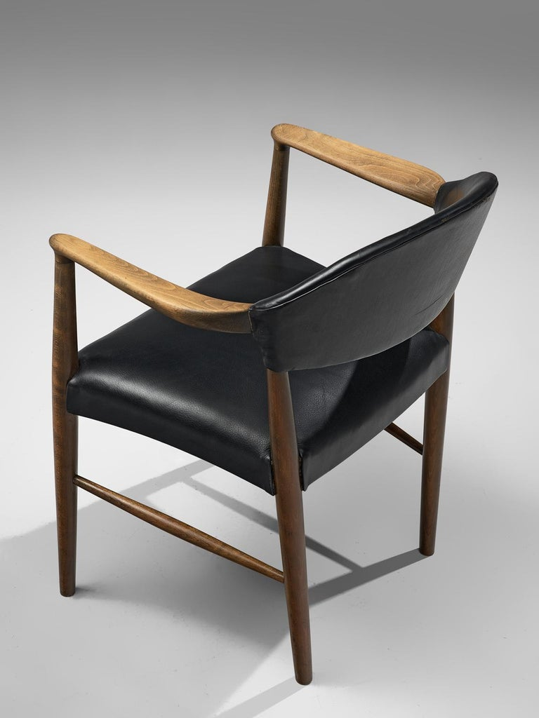 Danish Set of Eight Black Leather Armchairs by Kurt Olsen For Sale 2